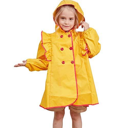 Ruffled prinses schattig kind regenjas, mode licht en ademend comfort baby student meisje Poncho Windbreaker (zonder regenlaarzen), geel, S