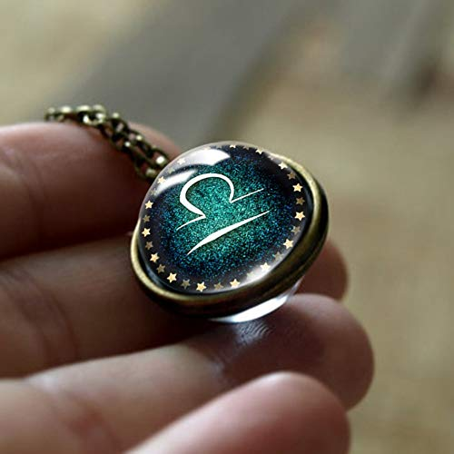 QYQMYK Constellation Necklace,Libra Constellation Vintage Necklace Charm 12 Zodiac Double Side Glass Horoscope Sign Pendant Jewellery For Girl Boy Zinc Alloy Cabochon Pendant Chain Birthday Gift