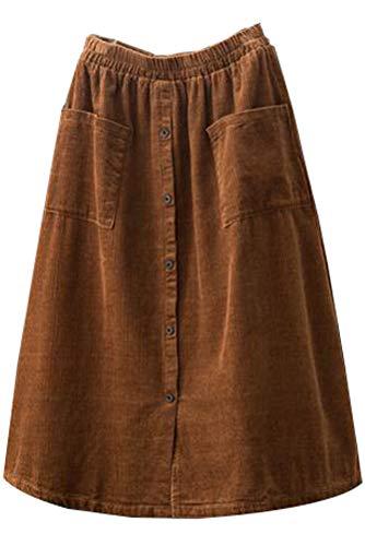 Minibee Women's Corduroy Midi Skirt Front Split Buttons A-Line Dress Brown XL