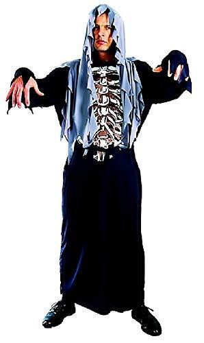 Talla única - Disfraz - Carnaval - Halloween - Esqueleto - Zombi - Monstruo - Muerte - huesos - Color negro - Capucha - Adultos - Hombre - Niño - Idea de regalo original