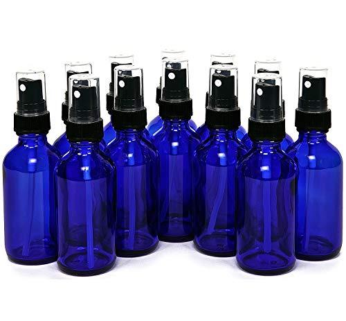 YITENG アロマ保存 スプレーボトル 30ml アルコール対応 ガラス製 遮光 蓄圧式 霧吹き スプレー容器 詰め替え ブラックヘッド 極細ミスト 12本セット(青)