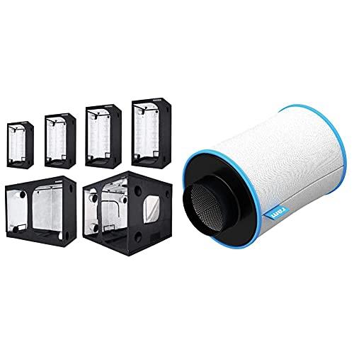 Trafika Urban Hydroponics Armario De Cultivo Interior 100X100X200Cm / Grow Tent Indoor/Grow Box Hidroponía/Reflectividad Mylar Premium 97% + Ram 100/200-Filtro (10,16 Cm, 170 M³/H) Filtro De Carbono