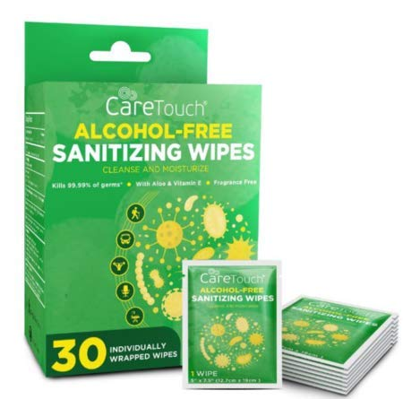 Care Touch Alcohol-Free Hand Sanitizing Wipes | 30 Individually Wrapped Hand Wipes with Vitamin E + Aloe Vera for Babies and Adults