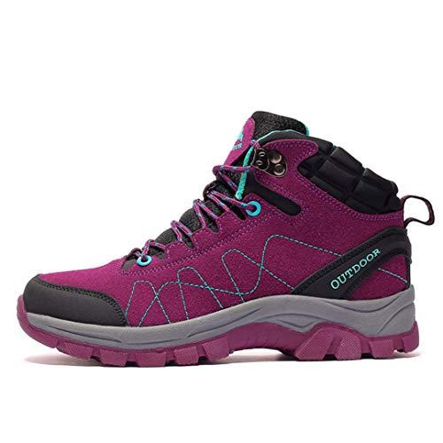 TH&Meoostny Zapatos de Caminata a Prueba de Agua Botas de Combate tácticas Transpirables Zapatos de Escalada al Aire Libre Sneakking Starkking Women Purple 7.5
