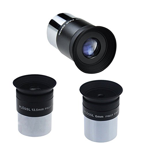 Solomark 6 mm/12.5 mm/ 20mm Plossl Ocular para telescopio de 1,25 pulgadas – 4-element Plossl diseño – con rosca para filtros de astronomía estándar de 1,25 pulgadas