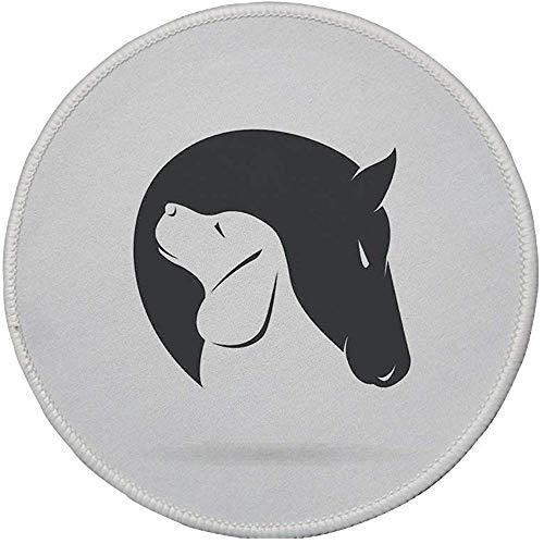 Ronde muismat, Dierendecor, Hedendaagse Illustratie van een hond en paard knuffelen loyale vriend Icon Hoofden Kunstmatige Print,Zwart Wit