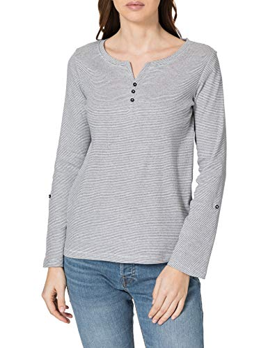 TOM TAILOR Damen Henley Striped 1024036 T-Shirt, 26053-Offwhite Navy Small, M