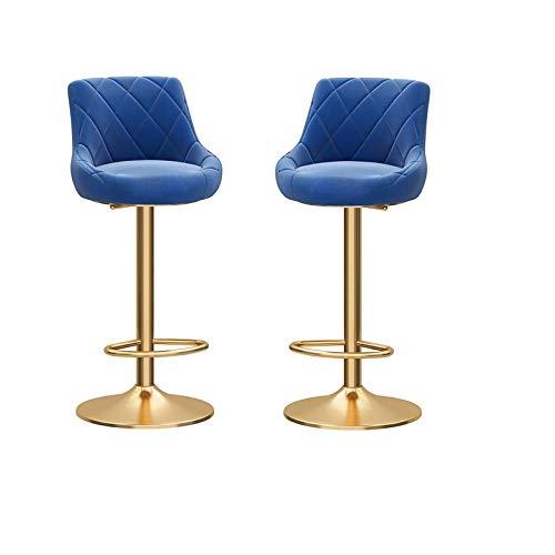 2 Stück Barhocker, Flanell 360 ° Grad Mordern Swivel Verstellbare Barhocker, Golden Leg Fußraste Basis, einstellbare mechanische Lift Barhocker Gastronomie Hocker Computer Stuhl (Color : Blue)