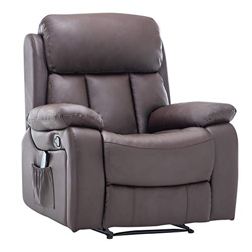 Warmiehomy Bonded Leather Recliner Chair with Massage and Heat Armchair Sofa Reclining Chair for Living Room (Brown)