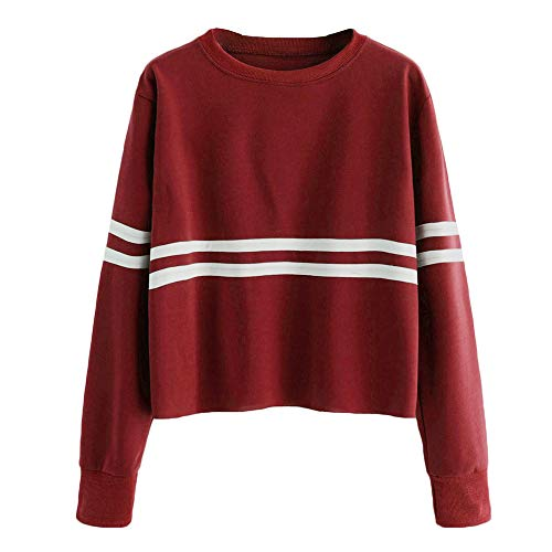 Fantastic Prices! Women Blouse Tops, Sttech1 Simple Long Sleeve Striped Crew Neck Sweater Shirts