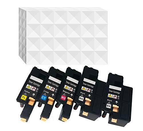5er Pack E525 E525W kompatibler Toner für Dell E525 E525W schwarz Cyan Magenta gelb Schwarz je 2.000 Seiten, Color je 1.400 Seiten