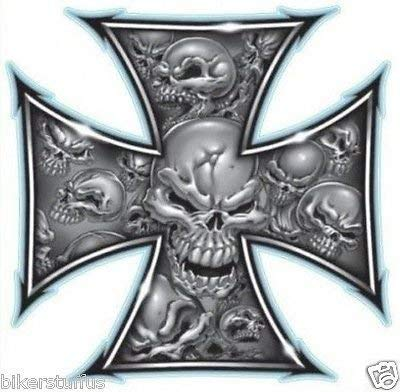 MFX Design Iron Cross Skull Sticker Decal Vinyl - Made in USA 3.25 in. x 3.25 in.