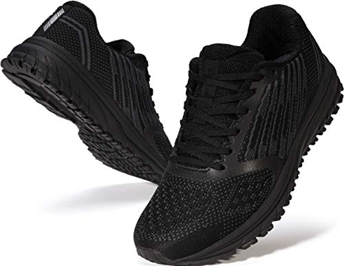 JOOMRA Mens Tennis Shoes Arch Supportive Trail Running Sneakers Black Size 9.5 Male Lace Cushion Man Fashion Runner Walking Jogging Breathable Sport Footwear 43