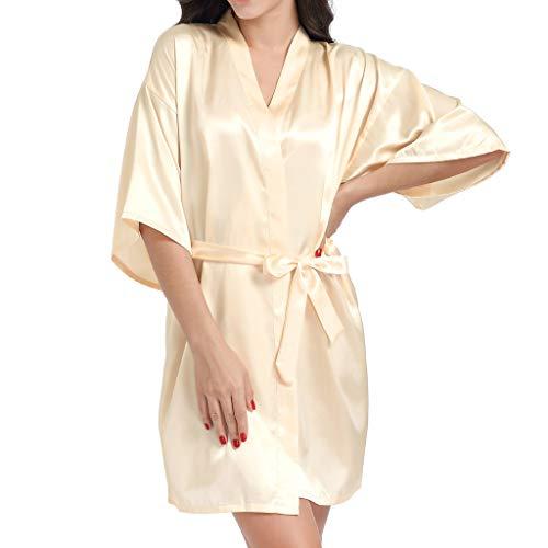 Deloito Damen Braut Pyjamas Dessous Hochzeit Brautkleid Brautjungfer Geschenk Nachthemd Mutter Schwester Sleepwear Roben Brief Bronzing Cardigan Nachtwäsche (Gelb-B,Large)