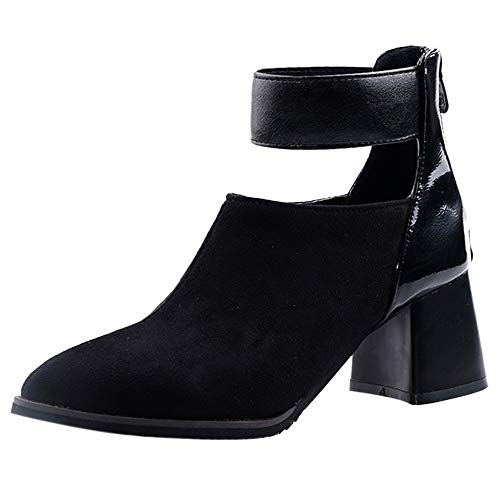 Kaizi Karzi Damen Mode Chunky Heel Short Stiefel Reißverschluss Ankle Boots Bloc32KABsatz Party Dress Stiefel Cut Out Catwalk Shoes Black Große 38 Asiatisch
