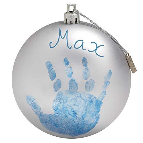 Baby Art My Christmas Fairy Pallina di Natale in Plastica, Decorazione Natalizia Albero Natale, con Kit Impronta, Argento