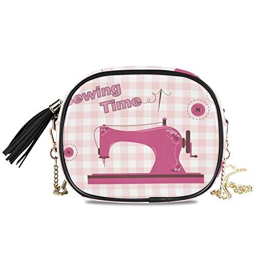 DEZIRO roze vintage naaimachine kleine PU lederen Crossbody tas met verstelbare metalen ketting riem voor vrouwen