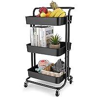 Bathwa 3-Tier Rolling Utility Cart Storage Shelves