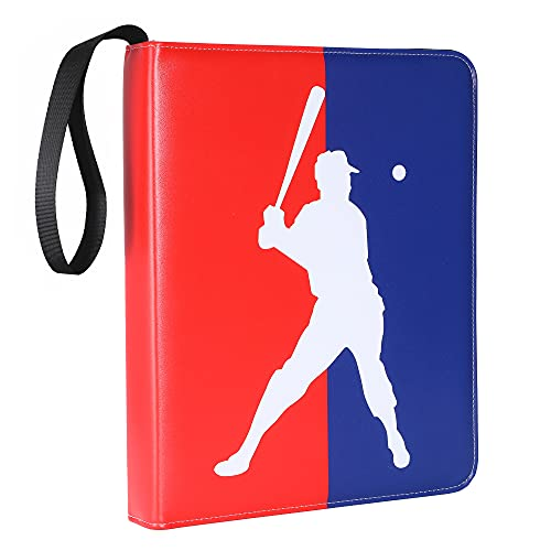 Baseball Trading Card Binder with Sleeves, 720 Card Protectors Holder Book for Baseball Cards, 40 Pcs 9-Pocket Pages, Card Collector Album with Zipper Storage Display Case