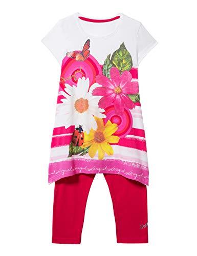 Desigual Girl Knit T-Shirt Short Sleeve (Pack_tamarindo) Camiseta, Rojo (Pink Fuschia 3022), 128 (Talla del Fabricante: Medium) para Niñas