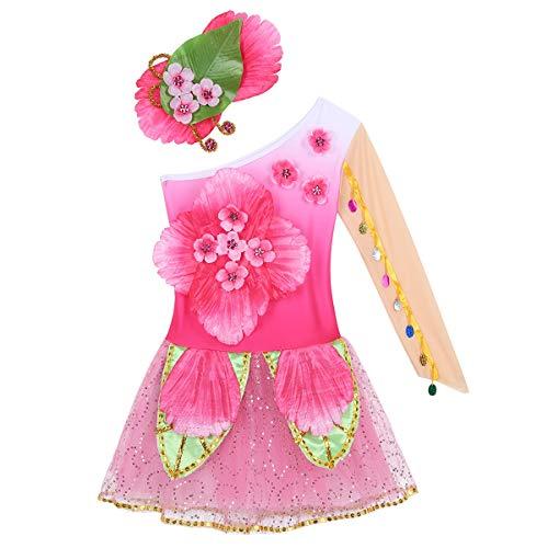FEESHOW Costume de Danse Fille pour Gala de Danse Enfant Costume Carnaval Performance Hip-hop Jazz BBrillant Débardeur avec Tutu Jupe Tenue Fête 3-14 Ans Rose Pink 130cm