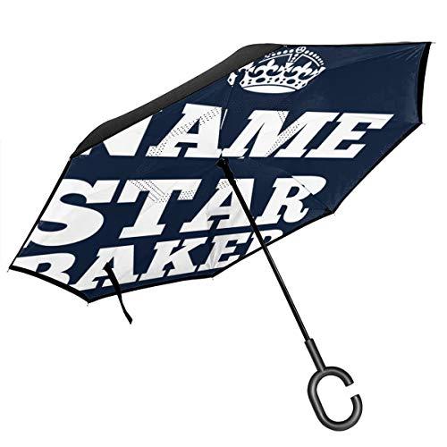 Regenschirm mit Sternenkrone, doppelschichtig, umgekehrt, zusammenklappbar, mit C-förmigen Händen – leicht und Winddicht