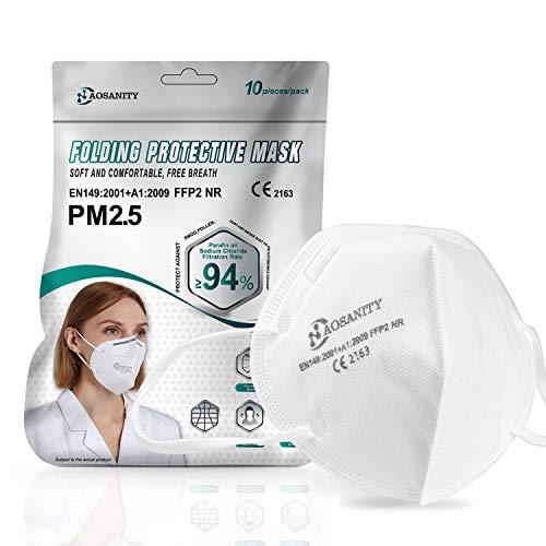 10X Stück Gesundheitsschutzmaske Schutzmaske KN95 / FFP2-Maske, 4-Lagen-Atemschutzmaske, Erwachsenenmaske Mund-Nase Gesichtsschutz mit hochwertigem Stoff