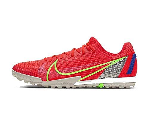 Nike Zoom Vapor 14 Pro TF, Football Shoe Hombre, Bright Crimson/Metallic Silver-Indigo Burst-White-Rage Green, 42 EU