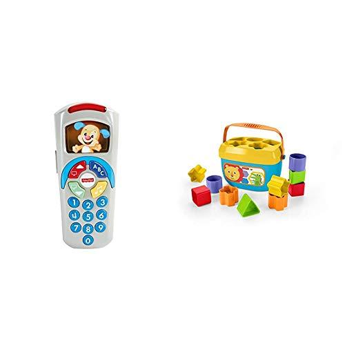 Fisher-Price - Mando a Distancia Perrito, Juguete Electrónico Bebé +6 Meses (Mattel DLD35) + - Bloques Infantiles, Juguete Bloques Construcción para Bebé +6 Meses (Mattel FFC84)