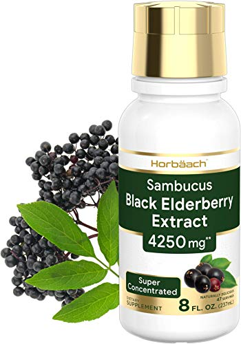 Black Elderberry Extract 4250mg | 8 oz Syrup | Super Concentrated Sambucus Liquid Supplement | Non-GMO, Gluten Free | by Horbaach