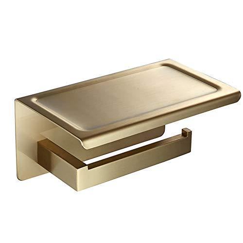 WOMAO Toilettenpapierhalter mit Ablage Gold Unterputz Wandmontage Klopapierhalter Edelstahl Gebürstet mit Bohren Handyhalter Klorollenhalter