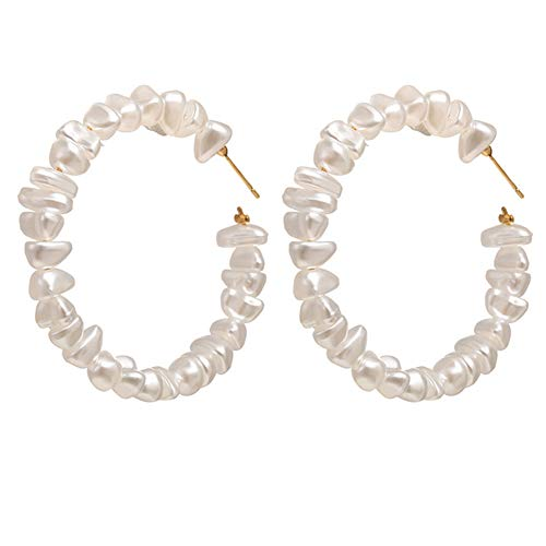 Irregular Pearl Hoop Earrings Open Circle Rings Earrings Puka Pearl Beaded Stud Earrings for Women Girls Elegant Jewelry Gifts