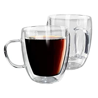 15OZ Clear Borosilicate Glass Coffee Mugs Set of 2, Double Wall Insulated Coffee Cups with Handle for Latte, Americano, Cappuccino, Tea, Beer, Beverage