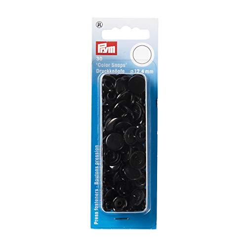 Prym 393105 Nähfrei Druckknopf Color Snaps rund 12,4 mm schwarz, Kunststoff, 12.4 mm