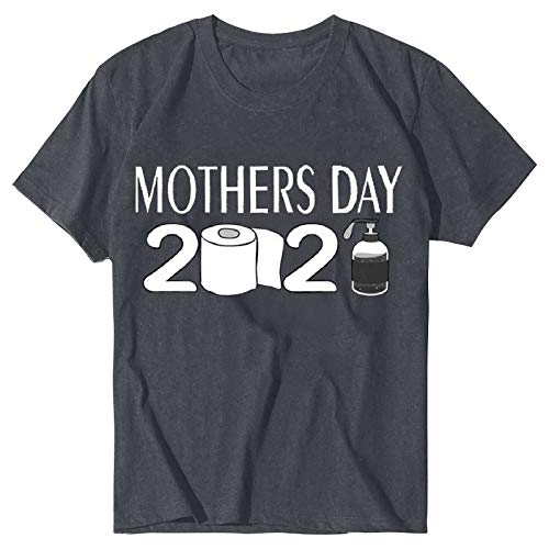 Dicomi Womens Crewneck T-Shirt Mother's Day Letter Printed Casual Short Sleeve Tops Blouse T-Shirt Gray