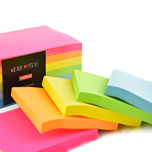 Sticky Notes 3x3 inch, 6 Neon Bright Colors, Stickies Notes Paper, self-Sticky Note Pads, Re-Adhesive, Colored notepads, 100 Sheets Per Pad, Strong Adhesive, to-do List. Use it for Reminders.