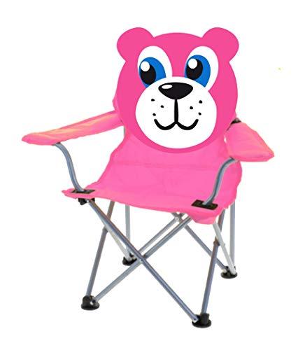matrasa Campingstuhl für Kinder - Klappstuhl Strandstuhl Gartenstuhl Kinderstuhl - Bär (Pink)