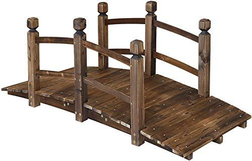 Jolitac - Ponte da giardino in legno da 1,5 m, con doppia ringhiera di sicurezza, per giardino,...