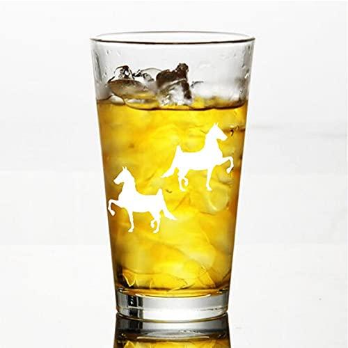 Juego de 2 copas de vino sin tallo de cristal de caballo de raza alforja, vaso de whisky grabado, perfecto para padre, mamá, niño o amiga
