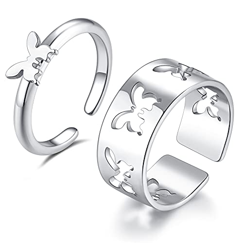 Leiwelry Butterfly Rings for Women Men, 2Pcs Matching Butterfly Rings for Couples Cute Trendy Promise Rings Set for Teens Bestie and Girls Gold Plated Split Ring Jewelry (Sliver)