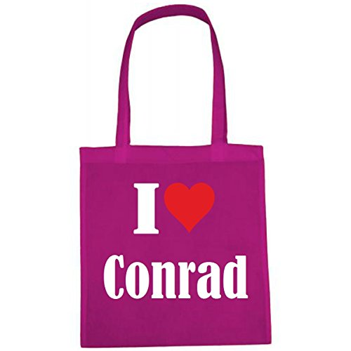 Tasche I Love Conrad Größe 38x42 Farbe Pink Druck Weiss