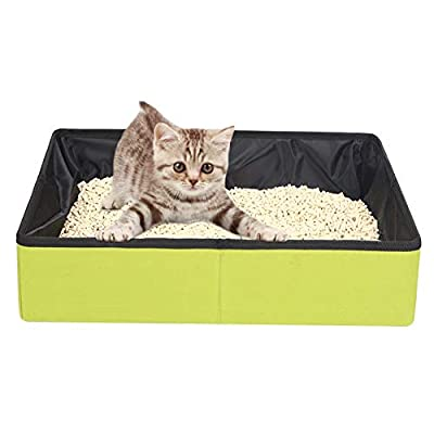 Fushida Collapsible Portable Cat Litter Box, Foldable Lightweight Travel Cat Litter Tray For Small Medium Large Cats, Easy Carry M