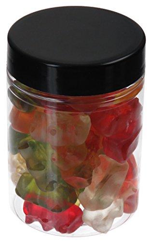 Pot de PET 100 ml transparent, avec couvercle en plastique, noir, 10 pièces