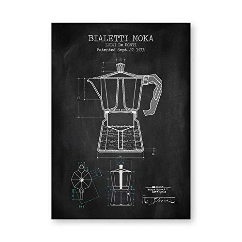 Koffie Pot Patent Posters en Prints Bialetti Moka Poster Koffie Blauwdruk Art Picture Canvas Schilderen Keuken Muur Art Decor (40x60cmx1 / geen Frame)