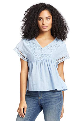 khujo Damen Blusenshirt SHEA aus Swiss Dot Baumwollstoff mit Spitze Top mit Leichter Transparenz