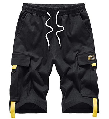 VtuAOL Men's Cargo Shorts Casual Cotton Shorts Multi-Pocket Outdoor Cargo Shorts Black Asian 5XL/US 38