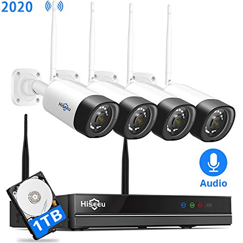 【8Channel,Audio】 Hiseeu Wireless Security Camera System,1TB Hard Drive,4Pcs 1080P Cameras 8Channel NVR,Mobile&PC Remote,Outdoor IP66 Waterproof,Night Vision,Motion Alert,Plug&Play,7/24/Motion Record
