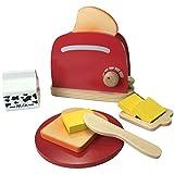 TikTakToo Frühstücksset Kinder Kaffemaschine Toaster Spielset aus Holz mit viel Zubehör für das erste Frühstück passend zu Allen Kinderspielküchen Kinderküchen Spielzeug (Toaster Set) …