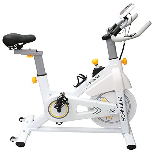 Svelfik Bicicleta Estática Spinning Disco 6kg Profesional, Banda / Monitor / Sensores de pulso / Pedales de Metal | Hasta 120 kg de soporte |