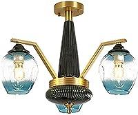 WQERLC モダンな産業スパチックシャンデリア、すべての銅バオブルーセラミックシャンデリア、リビングルームレストランルーム照明、分子ランプガラスシャンデリア - 銅。 3点灯,銅。,3点灯